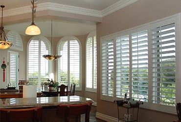 Plantation shutters accent blinds