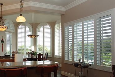 Plantation shutters accent blinds